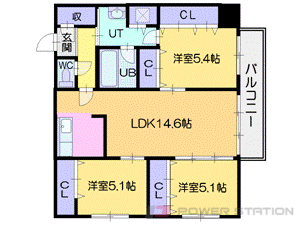 ロープウェイ入口3LDKマンション図面