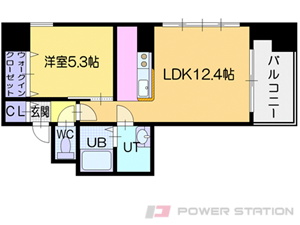 大通1LDKマンション図面