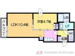 ビッグタワー大通公園:10階までの3号室タイプ