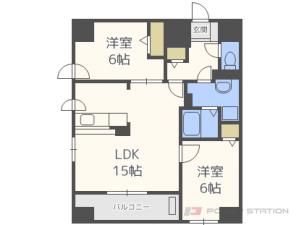 札幌市中央区北2条西19丁目1賃貸マンション間取図面