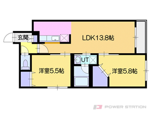 グランオルセーS8:1号室タイプ【2LDK】~現代風な和室部屋~