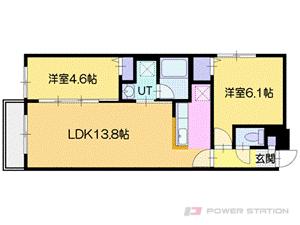 グランオルセーS8:3号室タイプ【2LDK】〜無機質(クール)なオトナ空間〜