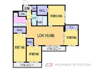 西28丁目3LDKマンション図面
