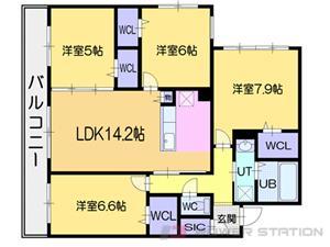 西28丁目4LDK分譲リースマンション図面