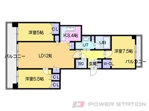 札幌市中央区北3条西27丁目11分譲リースマンション間取図面