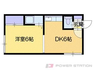 千歳1DKアパート図面