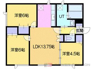 千歳3LDKアパート図面