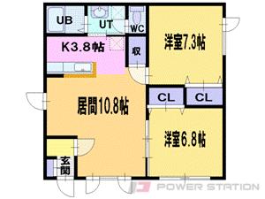 江別市見晴台0賃貸アパート間取図面