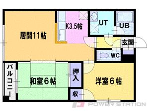 江別市緑町西1丁目0賃貸マンション間取図面