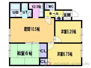 江別市東光町1賃貸アパート間取図面