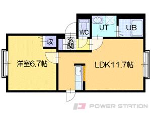 高砂1LDKアパート図面
