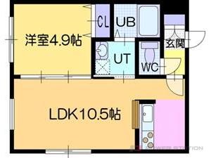 ラ・シュエット江別:1号室タイプ(1LDK)
