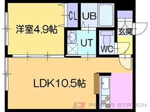 ラ・シュエット江別:2号室タイプ(1LDK)