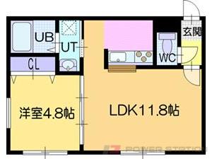 ラ・シュエット江別:6号室タイプ(1LDK)