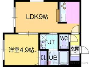 ラ・シュエット江別:10号室タイプ(1LDK)
