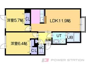 高砂2LDKマンション図面