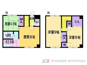 江別市高砂町0テラスハウス間取図面