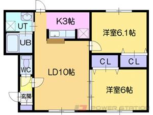 ルミエールサガン:2号室タイプ(2LDK)