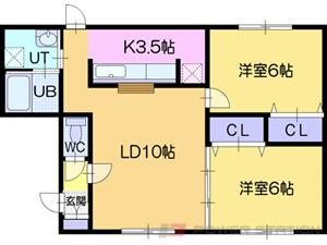 ルミエールサガン:3号室タイプ(2LDK)