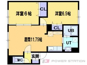 江別市ゆめみ野東町0賃貸アパート間取図面