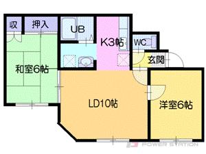江別2LDKアパート図面