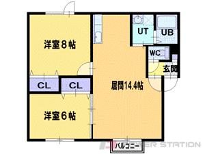 江別市幸町0賃貸アパート間取図面