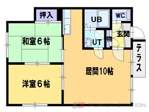 江別市ゆめみ野南町1賃貸アパート間取図面