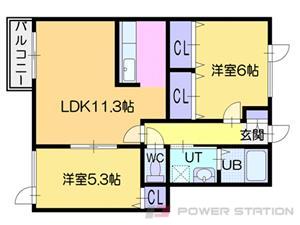 江別市ゆめみ野南町0賃貸アパート間取図面