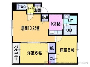 江別市野幌美幸町0賃貸アパート間取図面