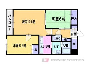 江別市東野幌町0賃貸マンション間取図面
