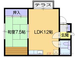 江別市見晴台1一戸建貸家間取図面