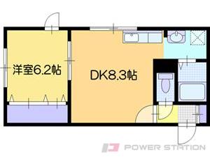 野幌1LDKアパート図面