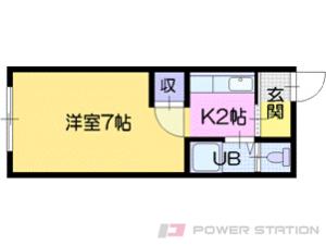 野幌1Kアパート図面
