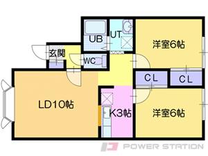 江別市あさひが丘1賃貸アパート間取図面