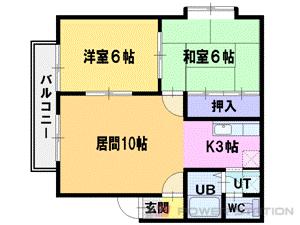 江別市緑ヶ丘0賃貸アパート間取図面