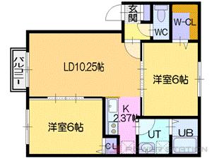 野幌2LDKアパート図面