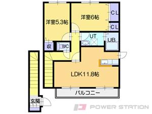 大麻2LDKアパート図面