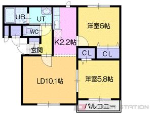 江別市大麻ひかり町0賃貸アパート間取図面
