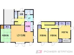 江別市萌えぎ野中央0一戸建貸家間取図面