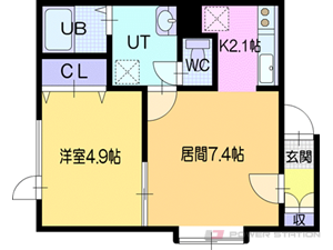 江別市大麻扇町0賃貸アパート間取図面