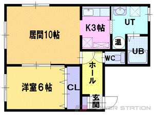 江別市緑町西1丁目0賃貸アパート間取図面