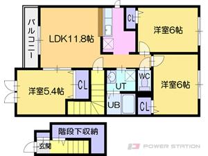江別市あけぼの町0賃貸アパート間取図面