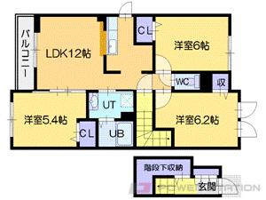 江別市萌えぎ野東0賃貸アパート間取図面
