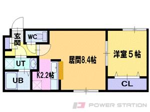 野幌1LDKマンション図面