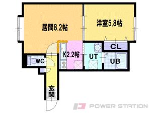 江別市緑町西1丁目1賃貸アパート間取図面
