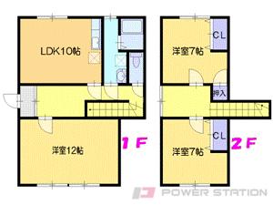 江別市対雁1テラスハウス間取図面