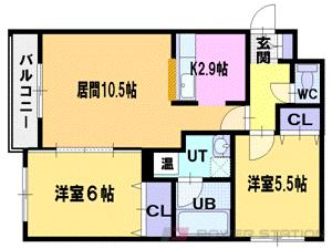 江別市一番町1賃貸マンション間取図面