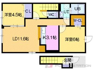 江別市上江別0賃貸アパート間取図面