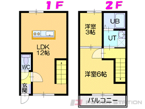 江別市文京台東町0テラスハウス間取図面