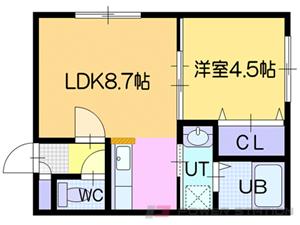 ドライエポック東野幌:1号室タイプ(1LDK)
